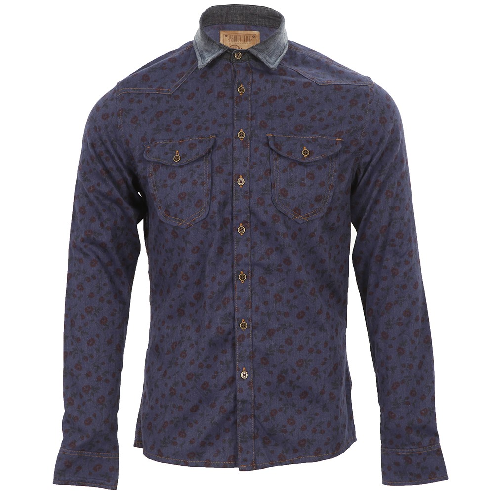 Pearly King Blue Floral Scalextric Shirt