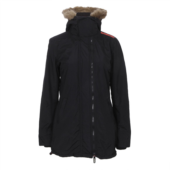 Superdry Womens Black Superdry Polar Pop Zip Wind Parka - Blk/Coral main image