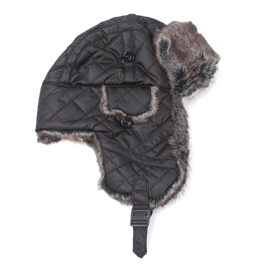 Barbour Black Quilted Nylon Fur Hunter Hat