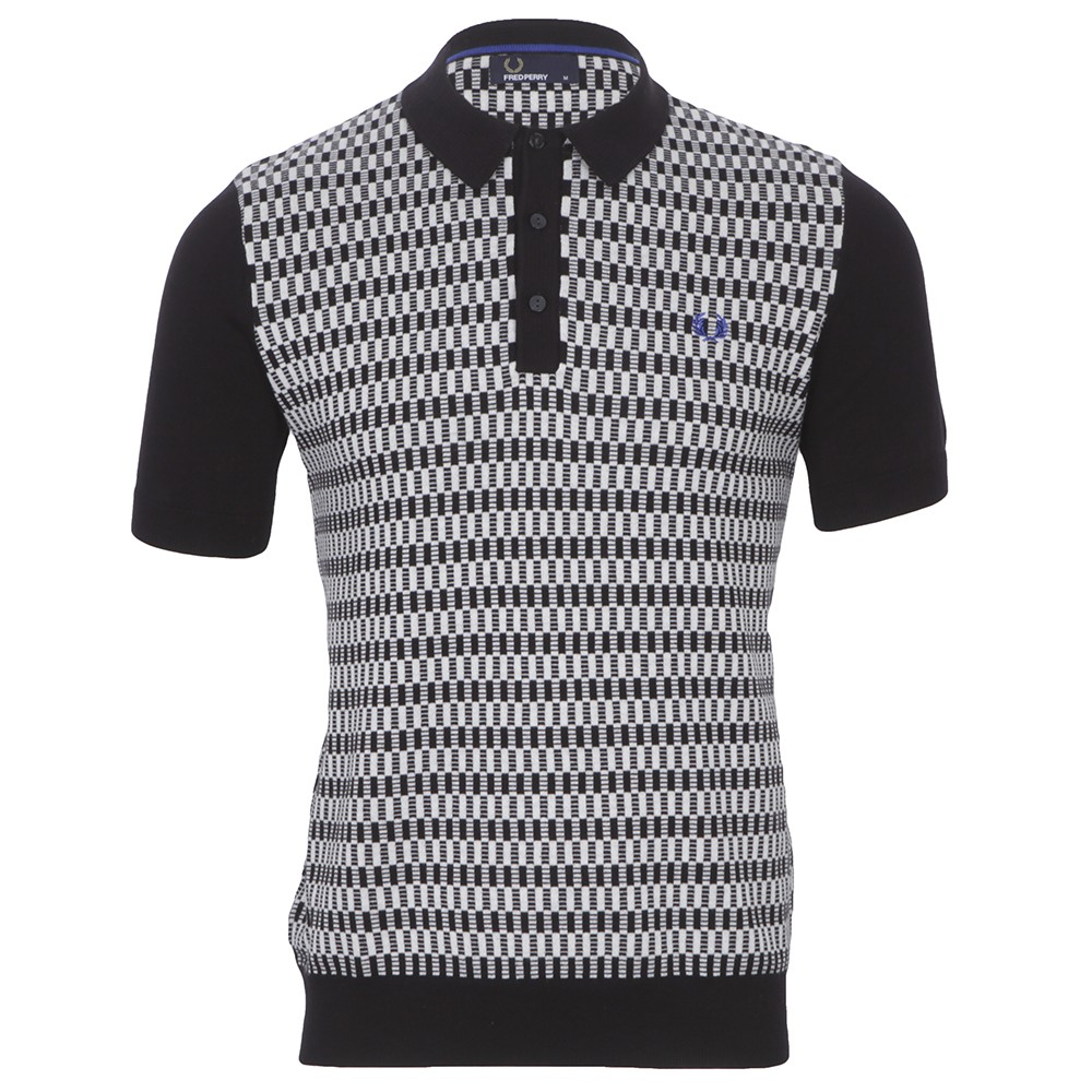 Fred Perry 45s Knitted BlackWhite Polo Shirt