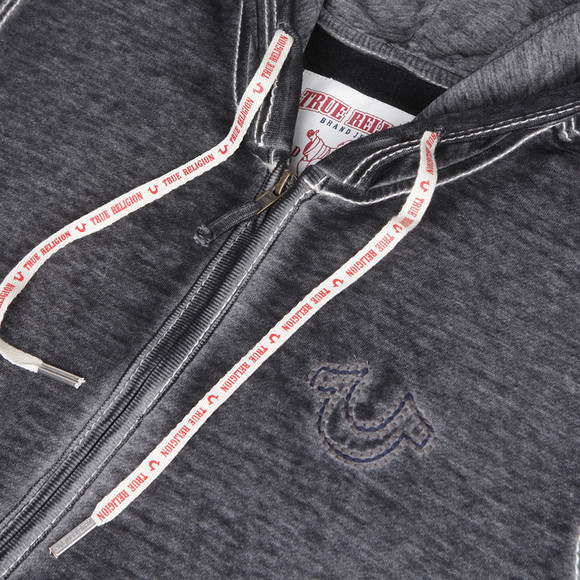 True Religion Mens Grey True Religion Charcoal Raw Edge Big T Hoody main image
