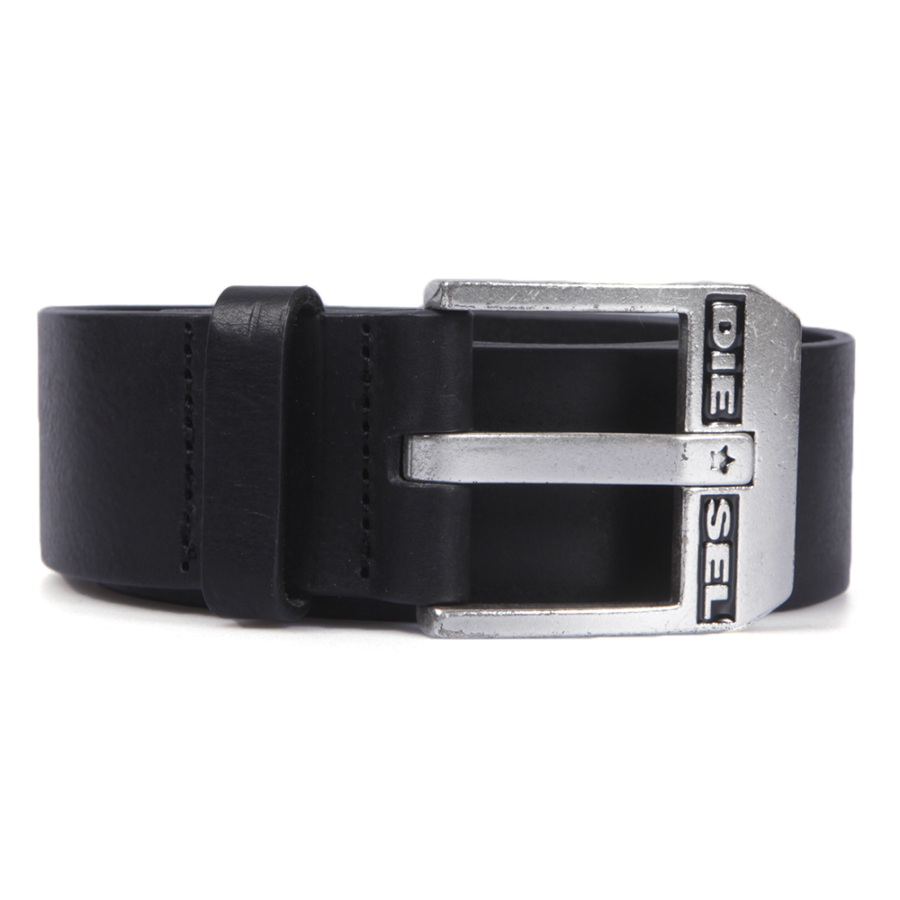 Diesel Bluestar Black And Silver Belt