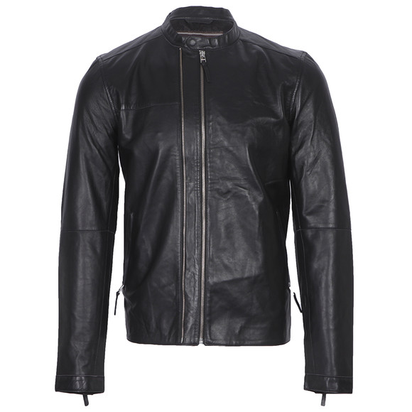 Pretty Green Mens Black Addison Leather Biker Jacket main image
