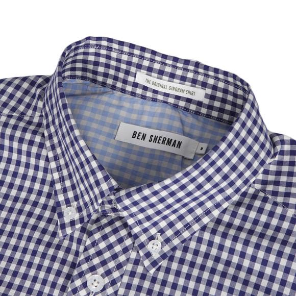 Ben Sherman Ma00751 Blue Depth Gingham Shirt Masdings