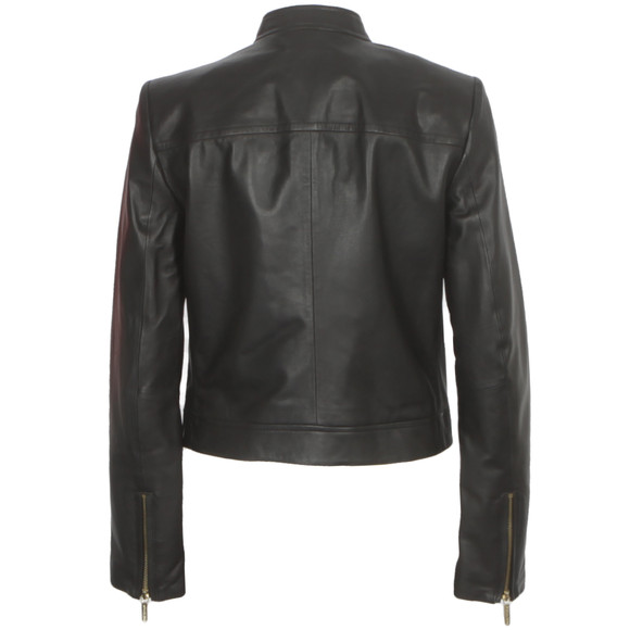 Michael Kors Womens Black Leather Moto Jacket main image