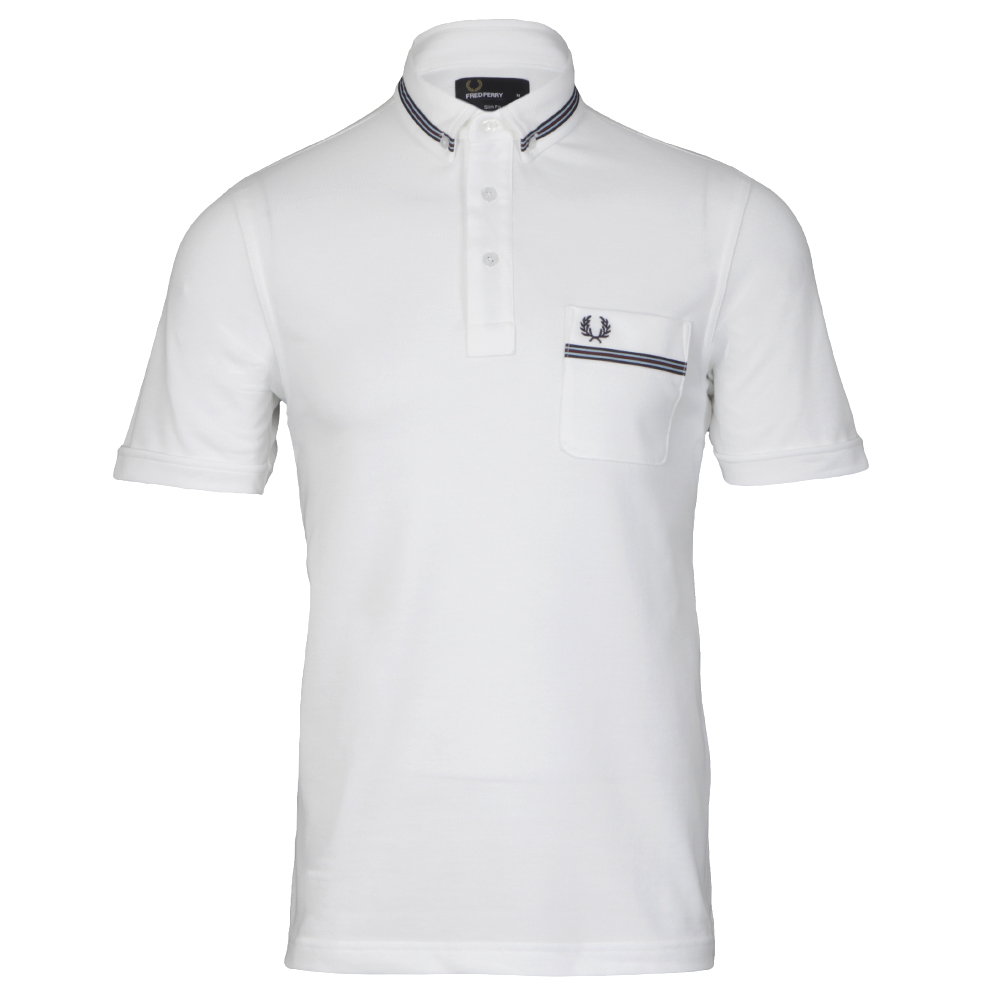 Fred Perry Gros Grain White  Polo Shirt