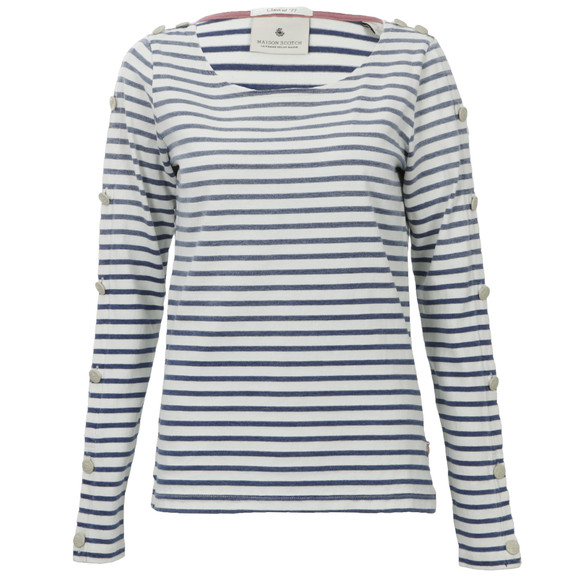 Maison Scotch Womens Blue Breton Stripe Top main image