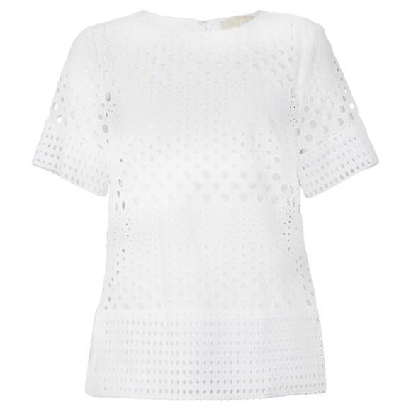 Michael Kors Womens White Eyelet Structured T Shirt main image