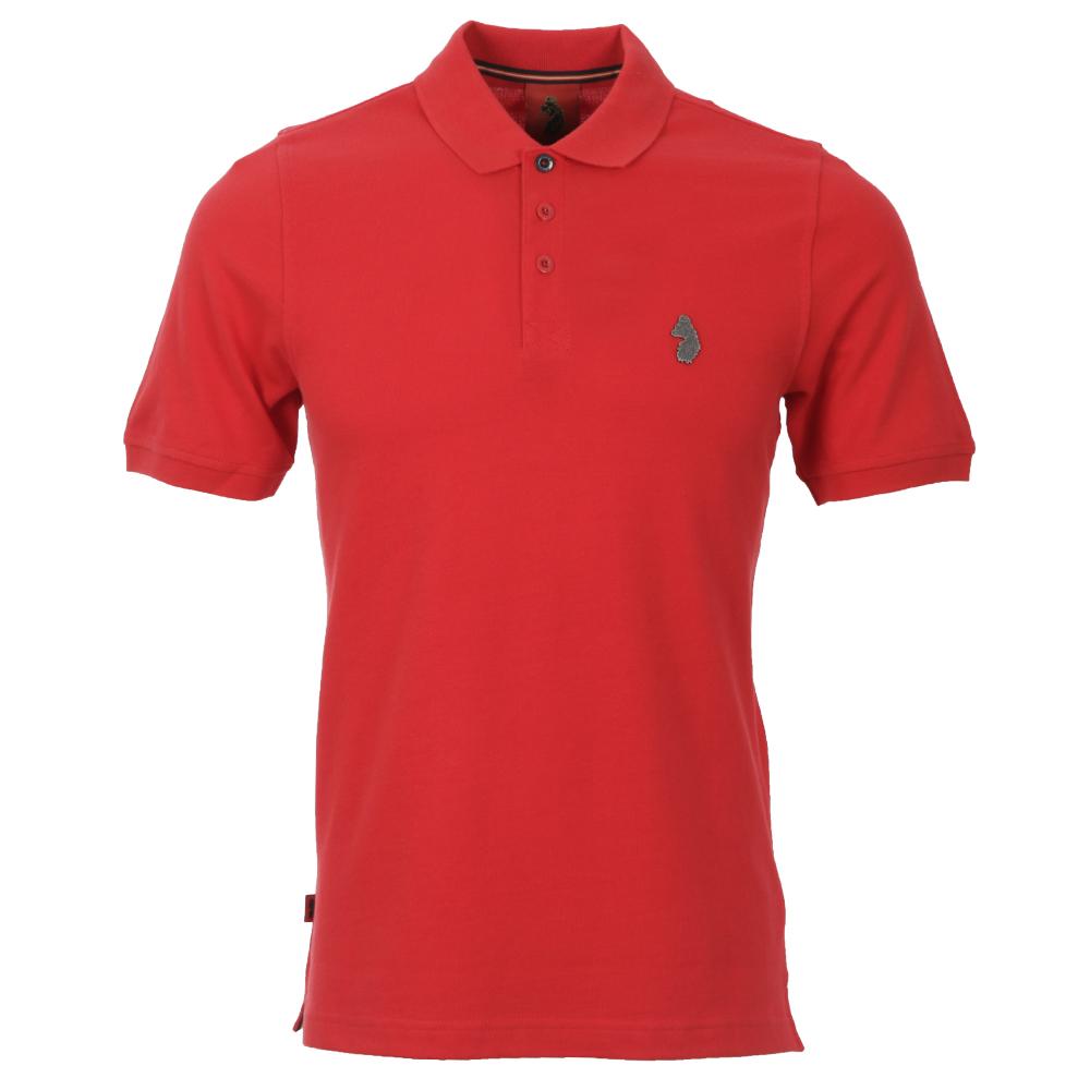 Luke Gardner Metal Badge Sports Red Polo Shirt