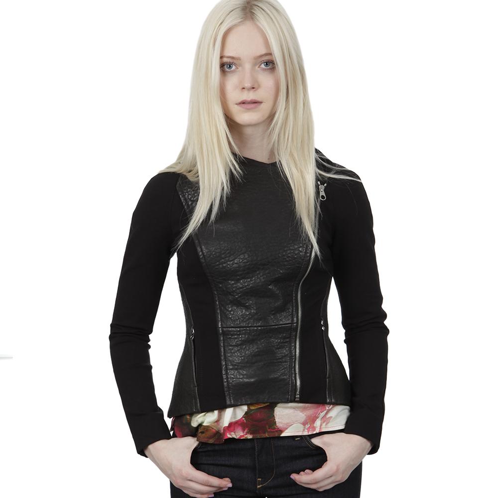 Meyaa Panelled Leather Biker Jacket