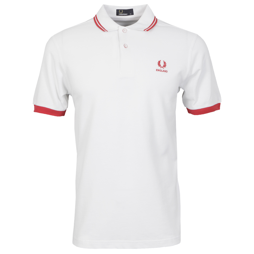 Fred Perry England WhiteRed Polo Shirt
