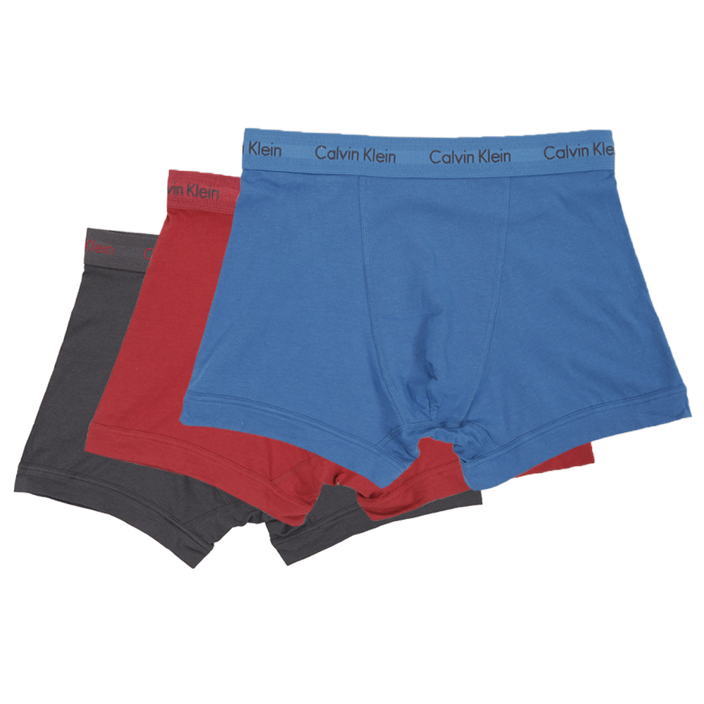 Calvin Klein BlueRed 3 Pack Trunks