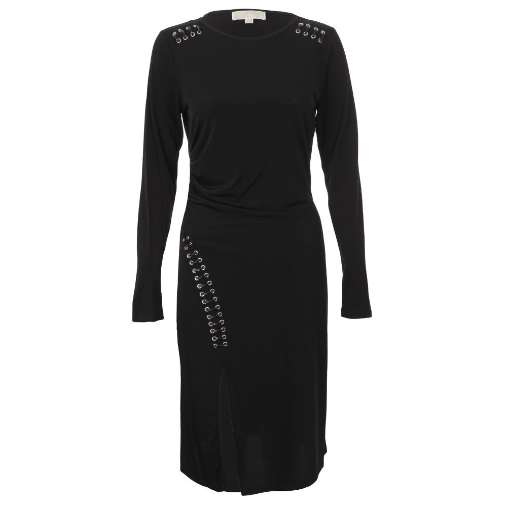 Long Sleeve Grommet Lace Dress main image