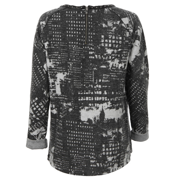 Maison Scotch Womens Grey Sweat Top With Leather Neckline main image