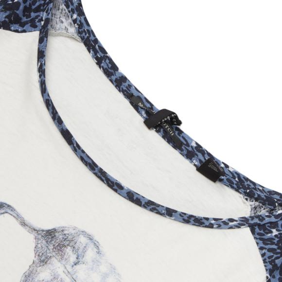 Maison Scotch Womens Off-white Raglan Long Sleeve Tee In Print main image