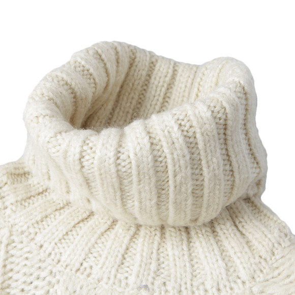 Superdry Womens Off-white Super Slouch Cable Roll Neck Jumper main image