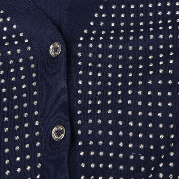Michael Kors Womens Blue Stud Uneven Hem Cardigan main image