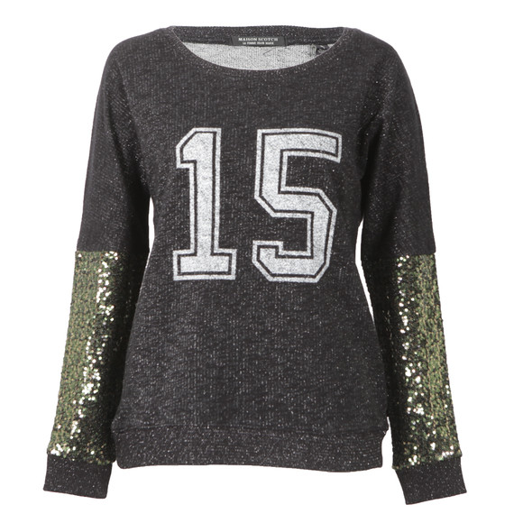 Maison Scotch Womens Black Festive Sweat With College Print main image