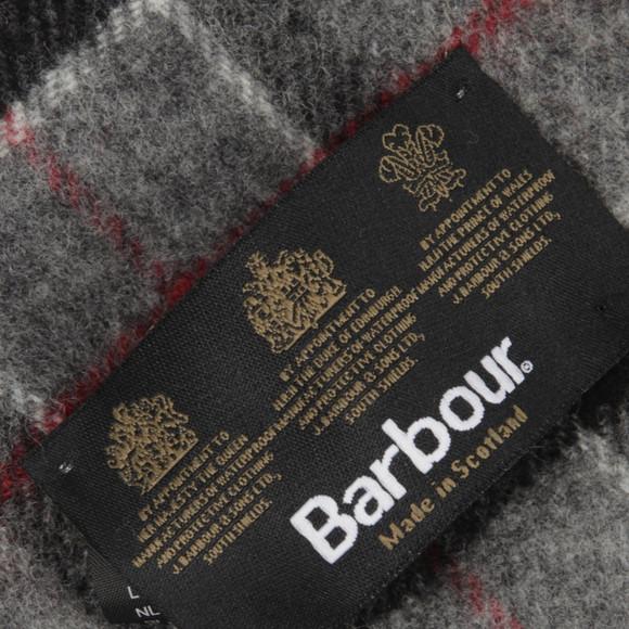 Barbour Lifestyle Mens Grey Modern Tartan Lambswool Scarf main image