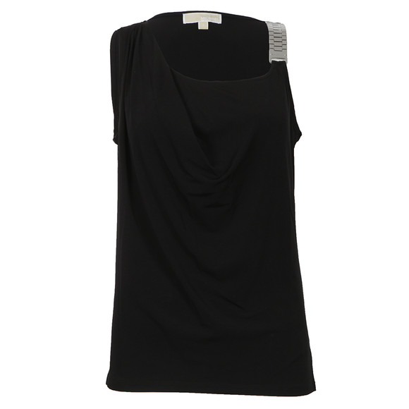 Michael Kors Womens Black Sleeveless Chainstrap Drape Top main image