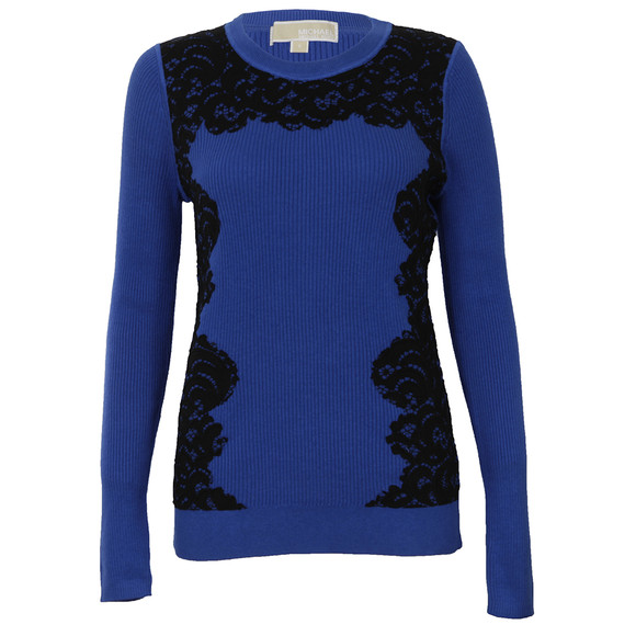 Michael Kors Womens Blue Lace Front Crew Jumper main image
