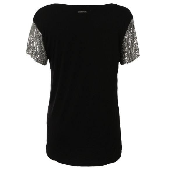 Michael Kors Womens Black Chain Mesh Crew Top main image