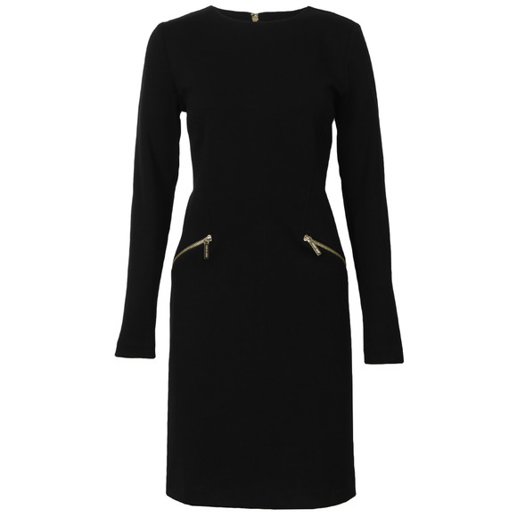 Michael Kors Womens Black Long Sleeve Solid Zip Seam Dress main image