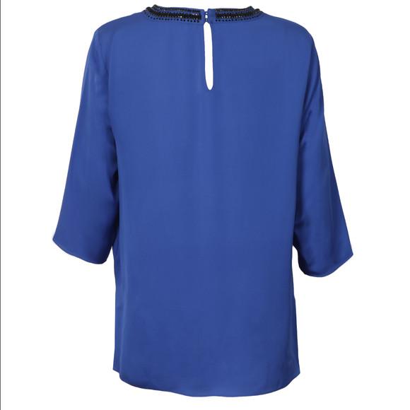 Michael Kors Womens Blue Embellished Neck Top main image