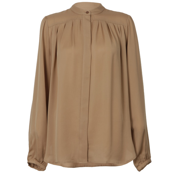 Michael Kors Womens Brown Pleated Blouse main image