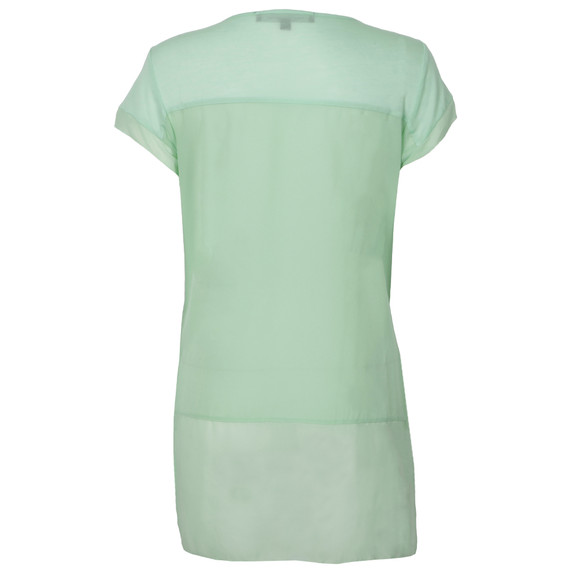 French Connection Womens Green Polly Plain Raw Edge T-Shirt main image