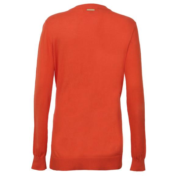 Michael Kors Womens Orange Stud Uneven Hem Jumper main image