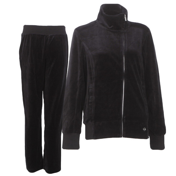 EA7 Emporio Armani Womens Black train velour tracksuit main image