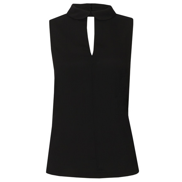French Connection Womens Black Penny Plains Sleeveless Collar Top main image