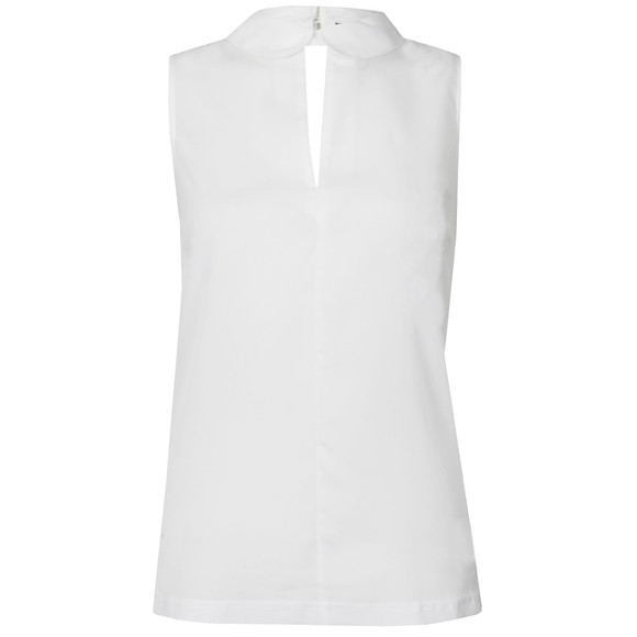 French Connection Womens White Penny Plains Sleeveless Collar Top main image