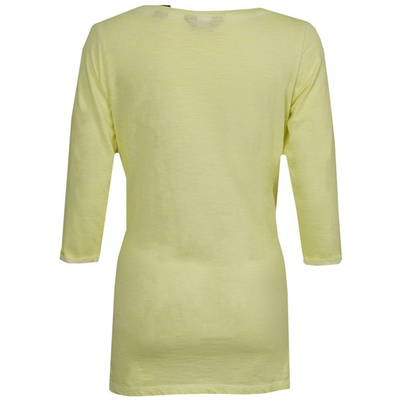 Maison Scotch Womens Yellow 3/4 Sleeve Tee With Travel Print main image