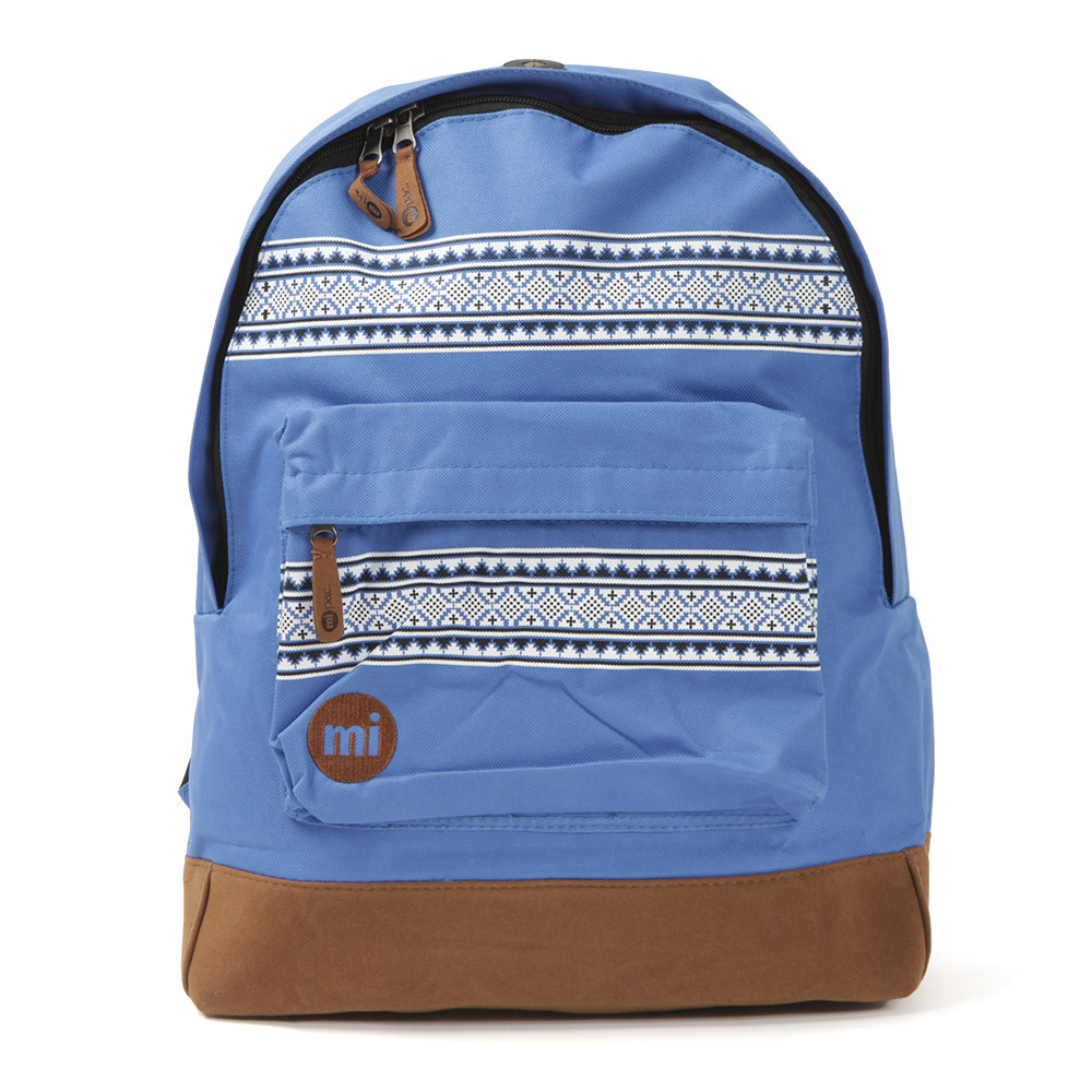 Mi-Pac Nordic print backpack, in royal blue. With contrast base trim. Zip main compartment and zip front pocket with print detail. Inside pockets, carry handle and earphone port.