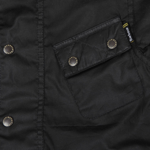 Barbour International Boys Black Boys Selkirk Wax Jacket main image