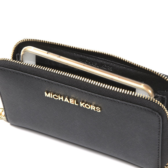 Michael Kors Womens Black Jet Set Travel Large Coin Multi Function Phone Case main image