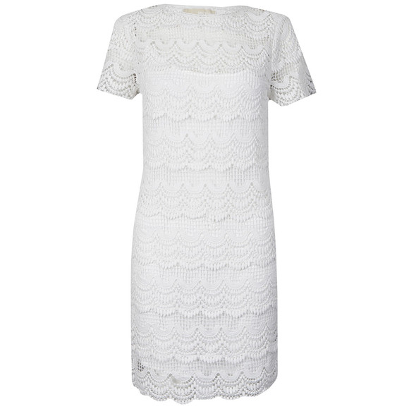 Michael Kors Womens White Short Sleeve Lace Dress main image