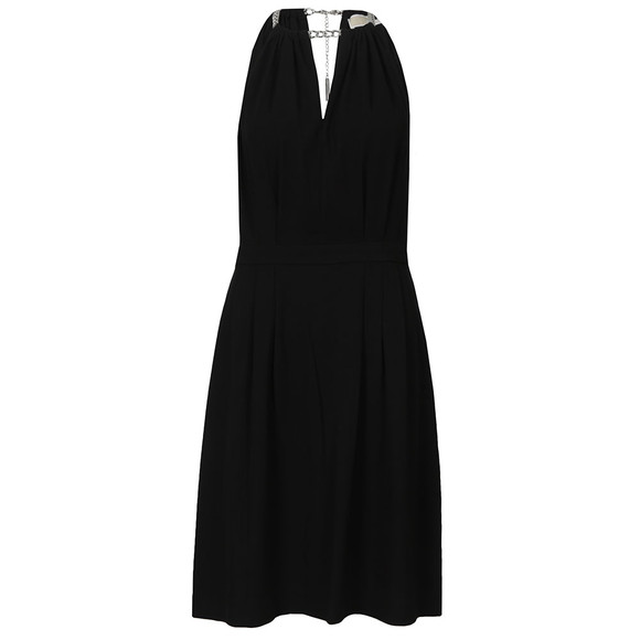 Michael Kors Womens Black Chain Neckline Dress main image