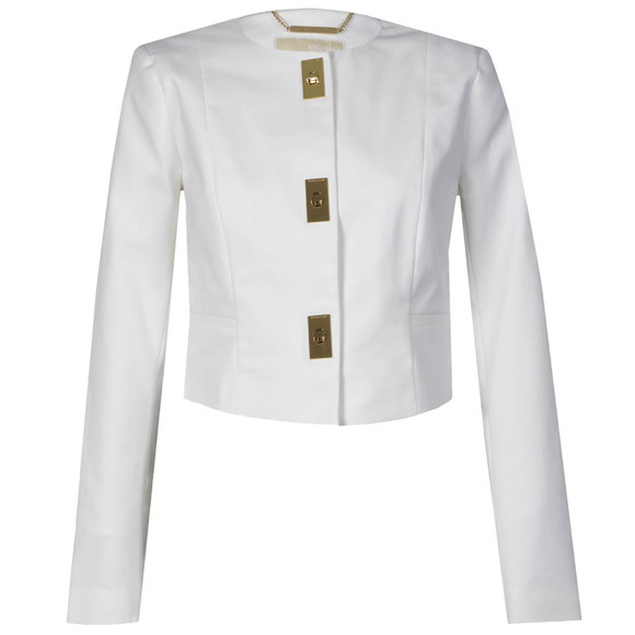 Michael Kors Womens White Cropped Hardware Jacket main image