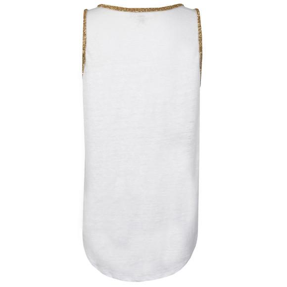 Michael Kors Womens White Scoop Neck Studded Tank main image