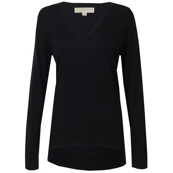 Michael Kors Womens Blue Snap Side V Neck Sweater main image