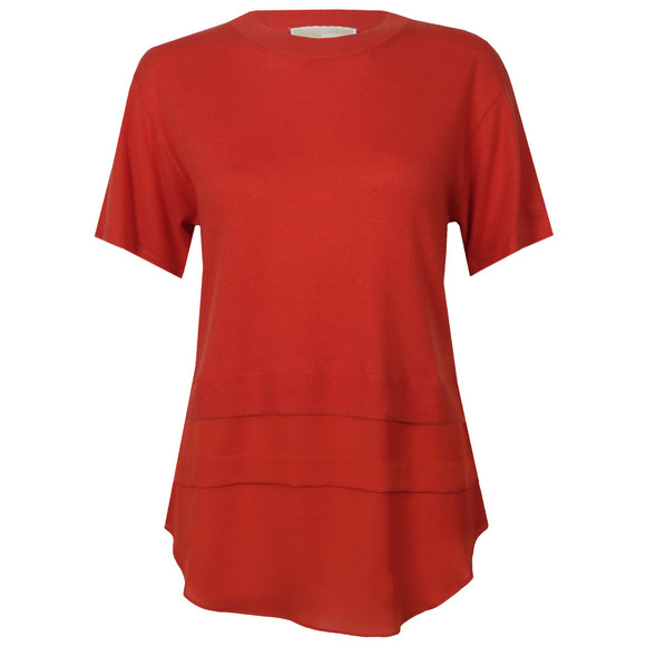 Michael Kors Womens Red Woven Hem Sweater main image