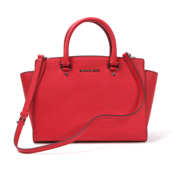 Michael Kors Womens Red Selma Large Leather Satchel main image