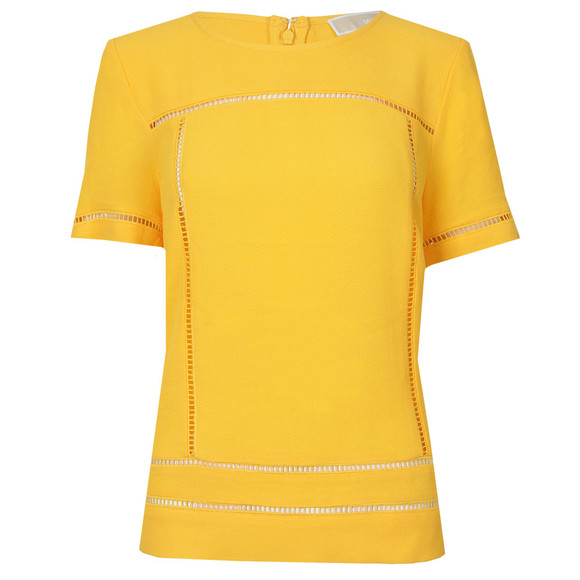 Michael Kors Womens Yellow Laddering Top main image