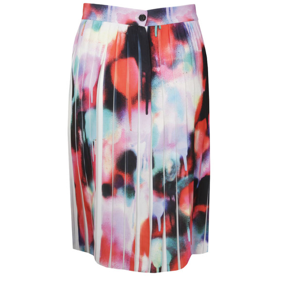 French Connection Womens Multicoloured Miami Graffiti Pleat Flare Skirt main image