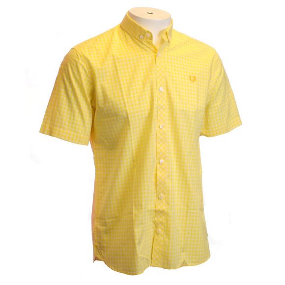Fred perry yellow gingham check shirt oxygen clothing for Mens yellow gingham shirt