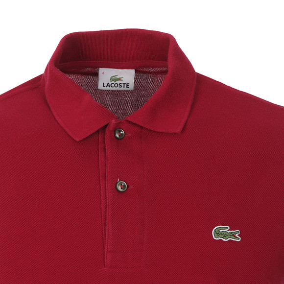 Lacoste Mens Red L1212 Bordeaux Plain Polo Shirt main image