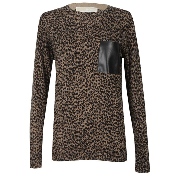 Michael Kors Womens Brown Jaguar Leather Pocket Top main image